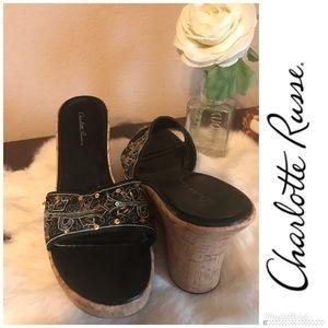 Vintage Charlotte Russe Cork Wedge floral slip on